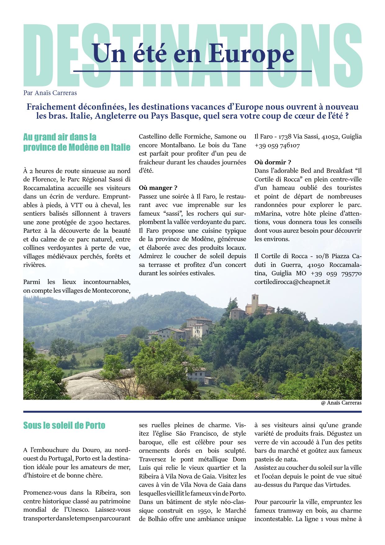 Article destinations Italie Portugal