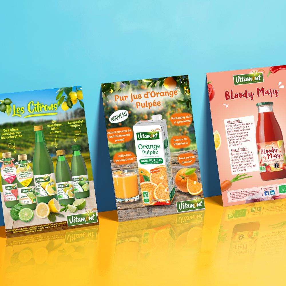 Affiches publicitaires pour des jus de fruits Vitamont