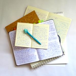 carnets avec inscriptions sur fond blanc