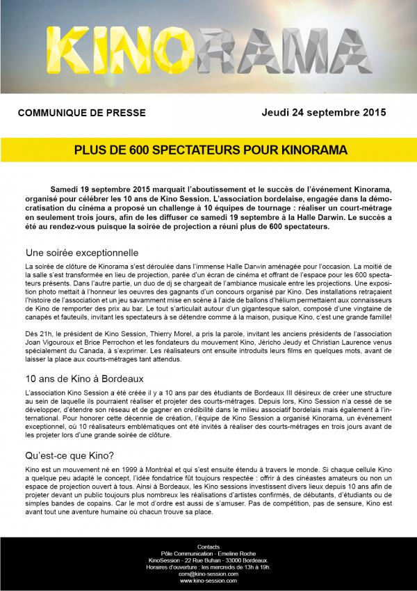 communiqué de presse kinorama Bordeaux