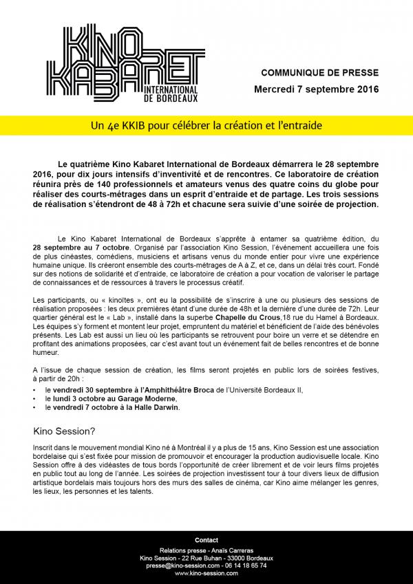 communiqué de presse kino kabaret international de Bordeaux