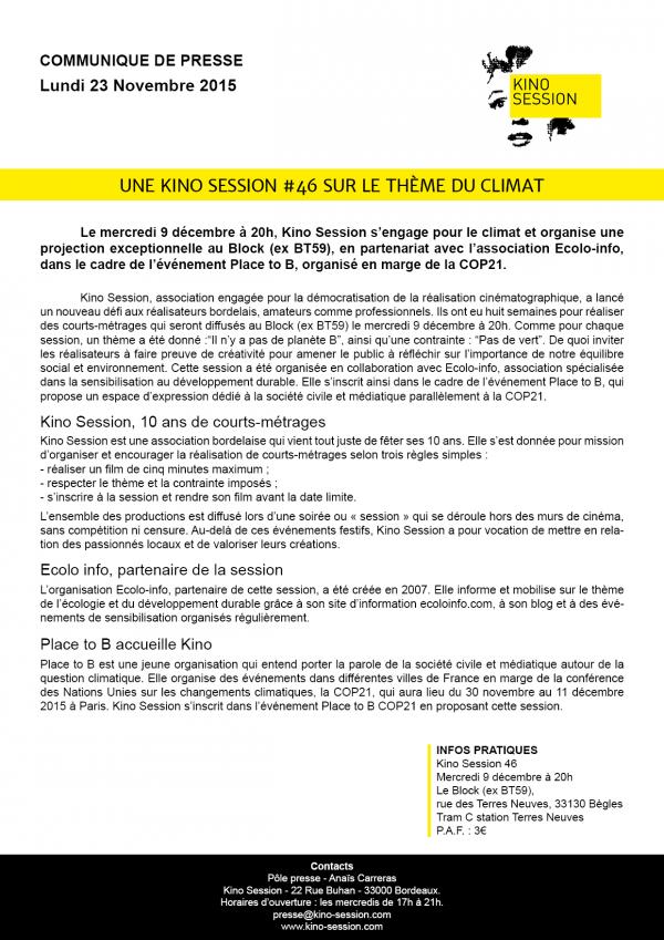 communiqué de presse kino session 46 Bordeaux